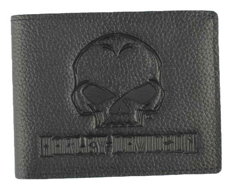 Men's Embossed Willie G Skull Leather Billfold Wallet