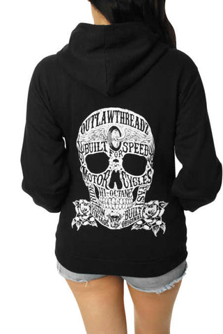 Outlaw Threadz Women's Moto Skull Hoody