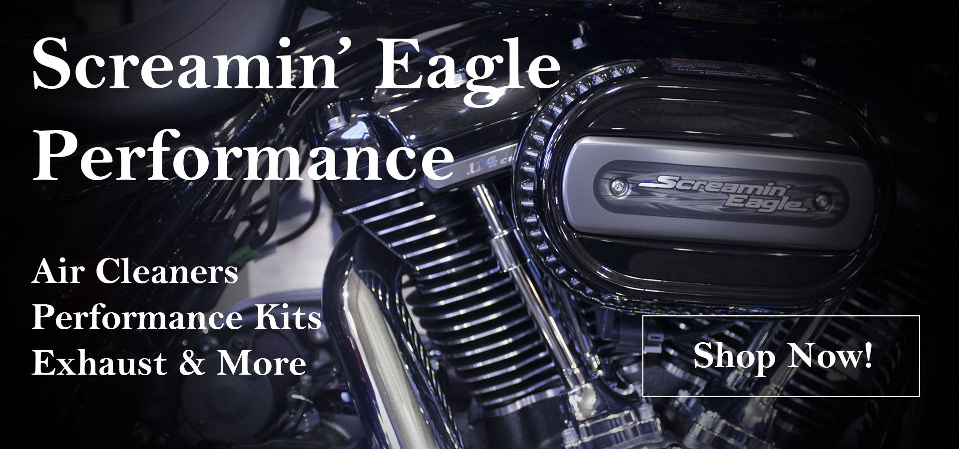 Screamin' Eagle: Air Cleaners, Performance Kits, Exhaust, and More