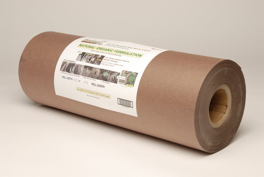 A roll of brown paper mulch that is 100% biodegradable and contains fertiliser