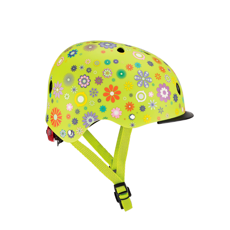 Casco Globber Con luz  Elite Flowers Lime Green XS/S