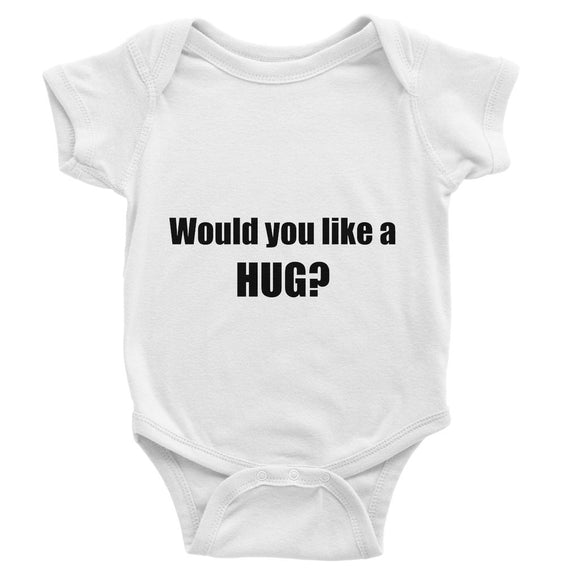 Would you like a HUG? sign - Black Baby Bodysuit