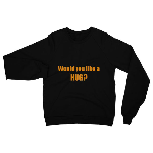 Would you like a Hug? sign - Orange Heavy Blend Crew Neck Sweatshirt