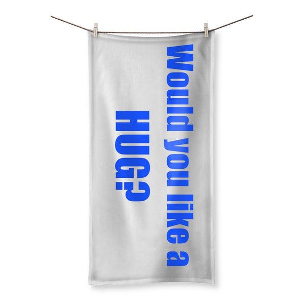 Would you like a HUG? sign - Purple Beach Towel
