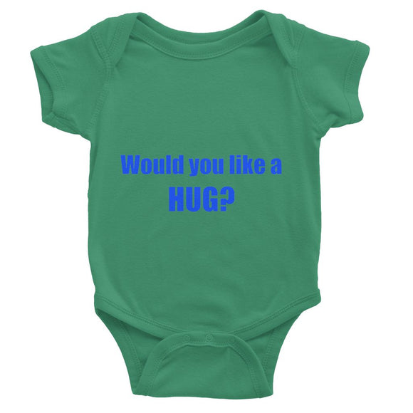 Would you like a HUG? sign - Purple Baby Bodysuit
