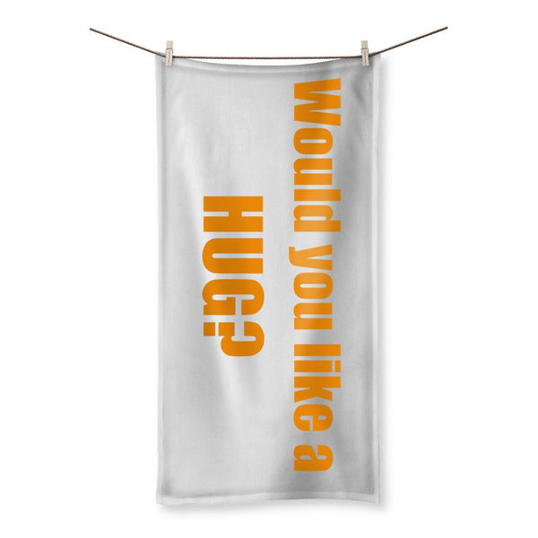 Would you like a Hug? sign - Orange Beach Towel