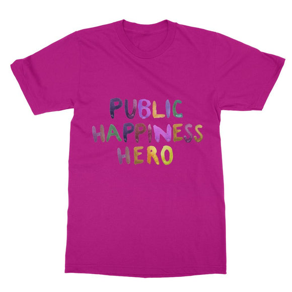 Public Happiness Hero - Large Softstyle Ringspun T-Shirt