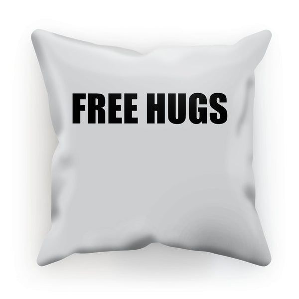 Free Hugs sign - Black Cushion