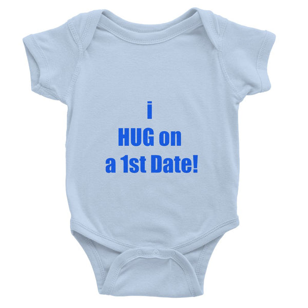 i HUG on the 1st date sign - purple Baby Bodysuit