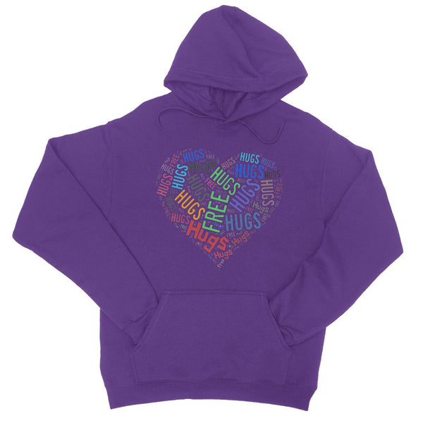 Hugs Tag Cloud Focused - Dark College Hoodie