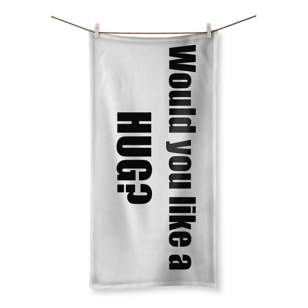 Would you like a HUG? sign - Black Beach Towel