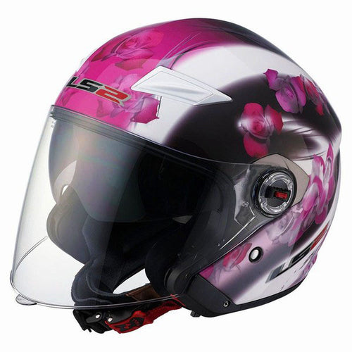 LS2 OF569 Open Face DOT Helmet - Pink Floral