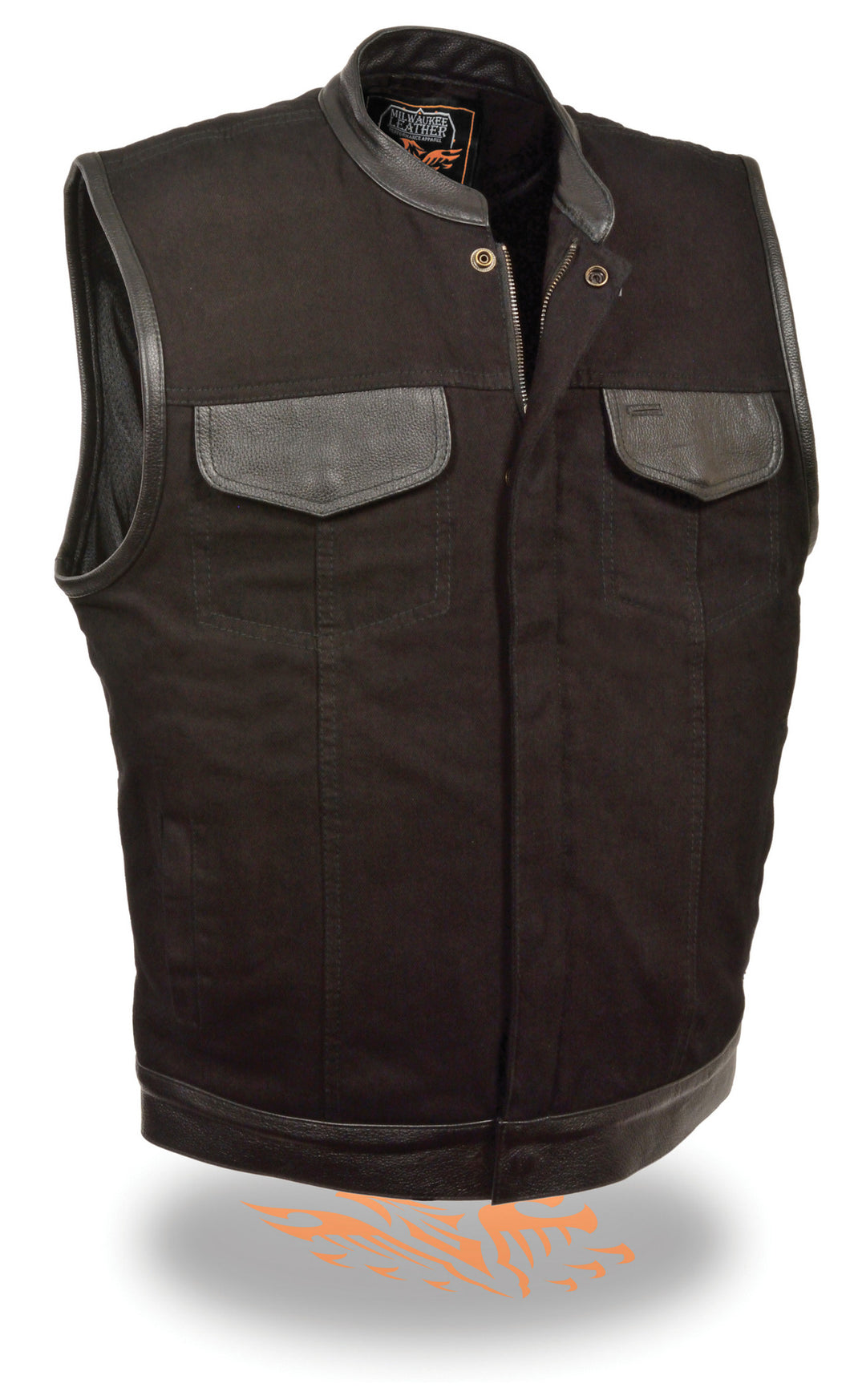 MDM3010 MEN'S DENIM CLUB VEST WITH LEATHER TRIM