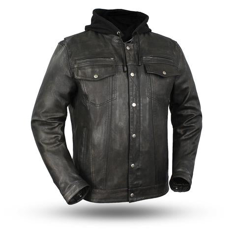 Vendetta First Classics FIM276 Distressed Black/Brown Jacket with Hoodie