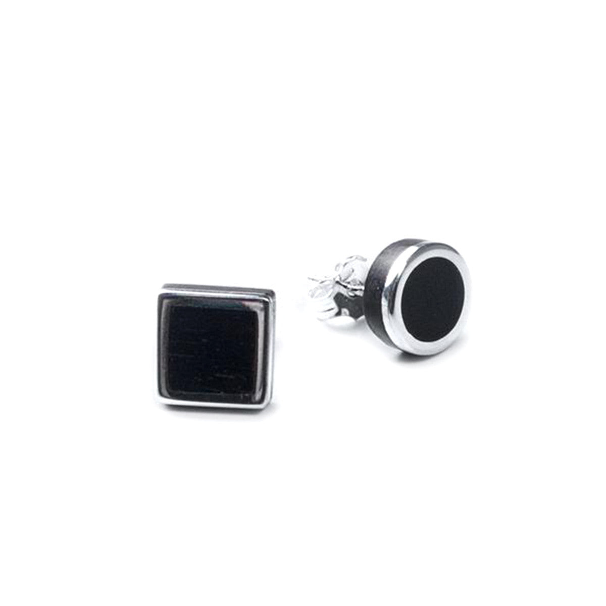 Eszter Zamori: Ebony Silver Square Circle Stud Earrings