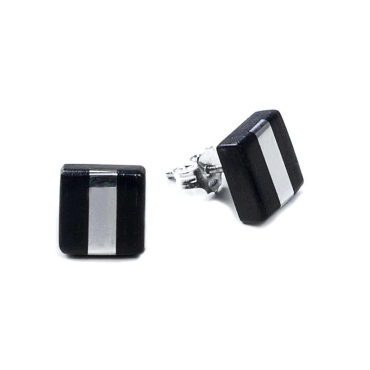 Eszter Zamori: Ebony Silver Stripe Stud Earrings