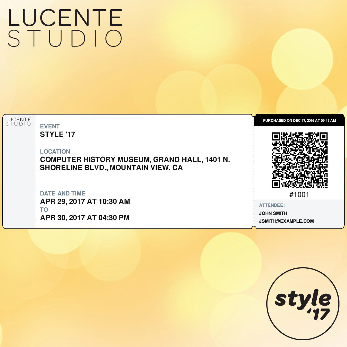 Lucente Studio Style '17 Event Ticket