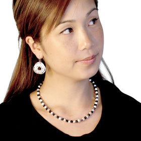 Kelim: Sterling Silver Cube & Onyx Necklace