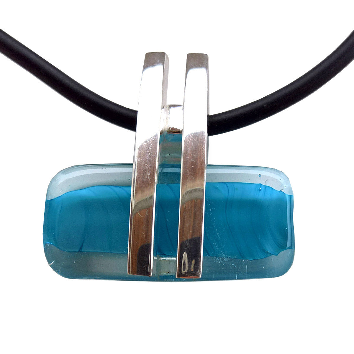 La Foglia D'Oro: Oval Murano Glass + Silver Necklace - Sky Blue