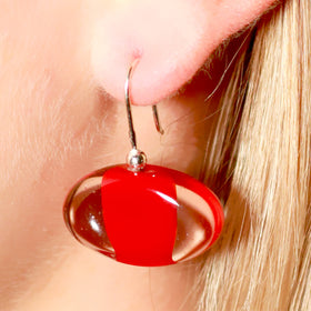 La Foglia D'Oro: Classic Occhio Glass & Silver Earrings - Red