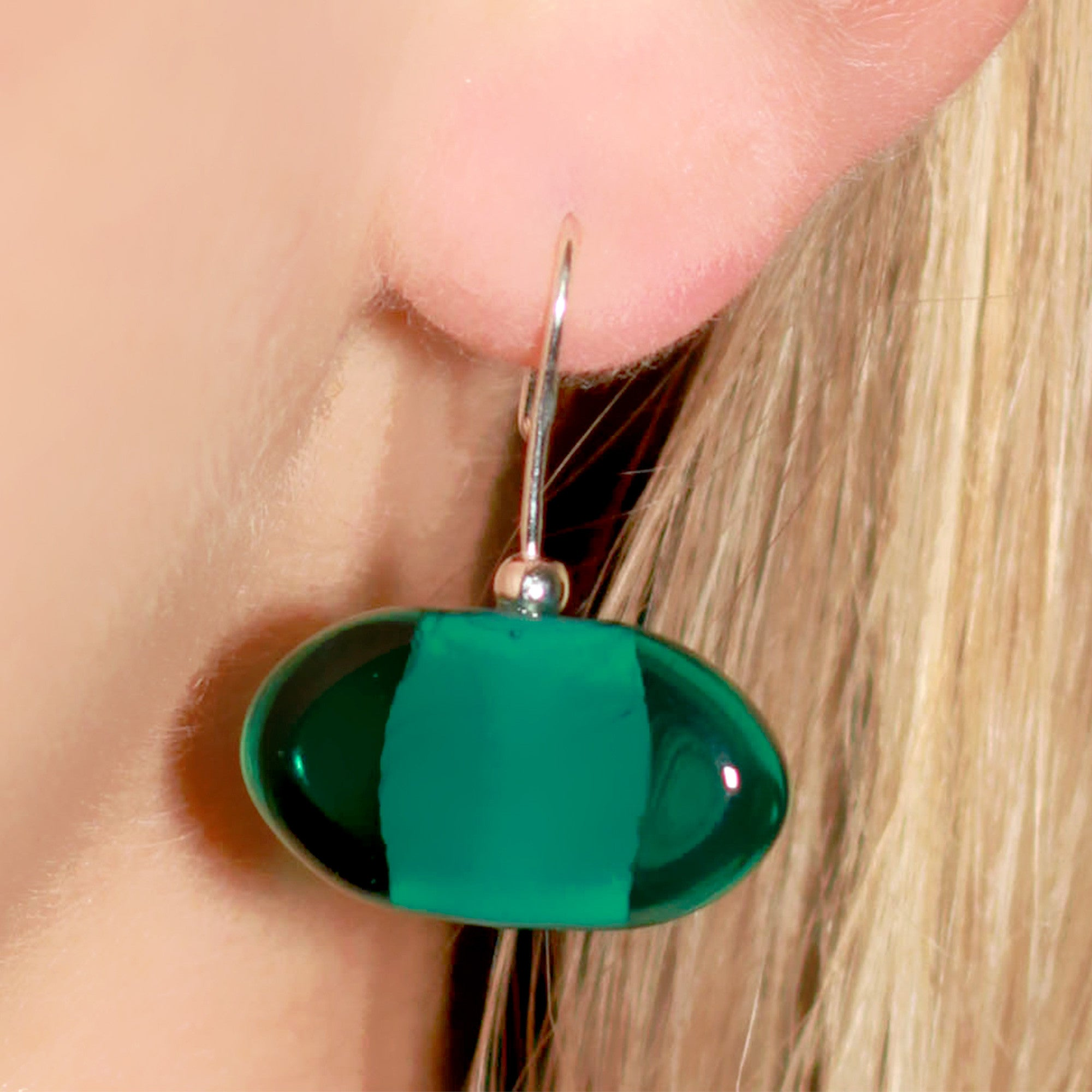 La Foglia D'Oro: Classic Occhio Glass & Silver Earrings - Teal