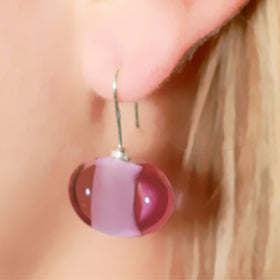 La Foglia D'Oro: Classic Occhio Glass & Silver Earrings - Viola