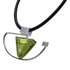 La Foglia D'Oro: Meza Luna Glass & Silver Necklace - Green
