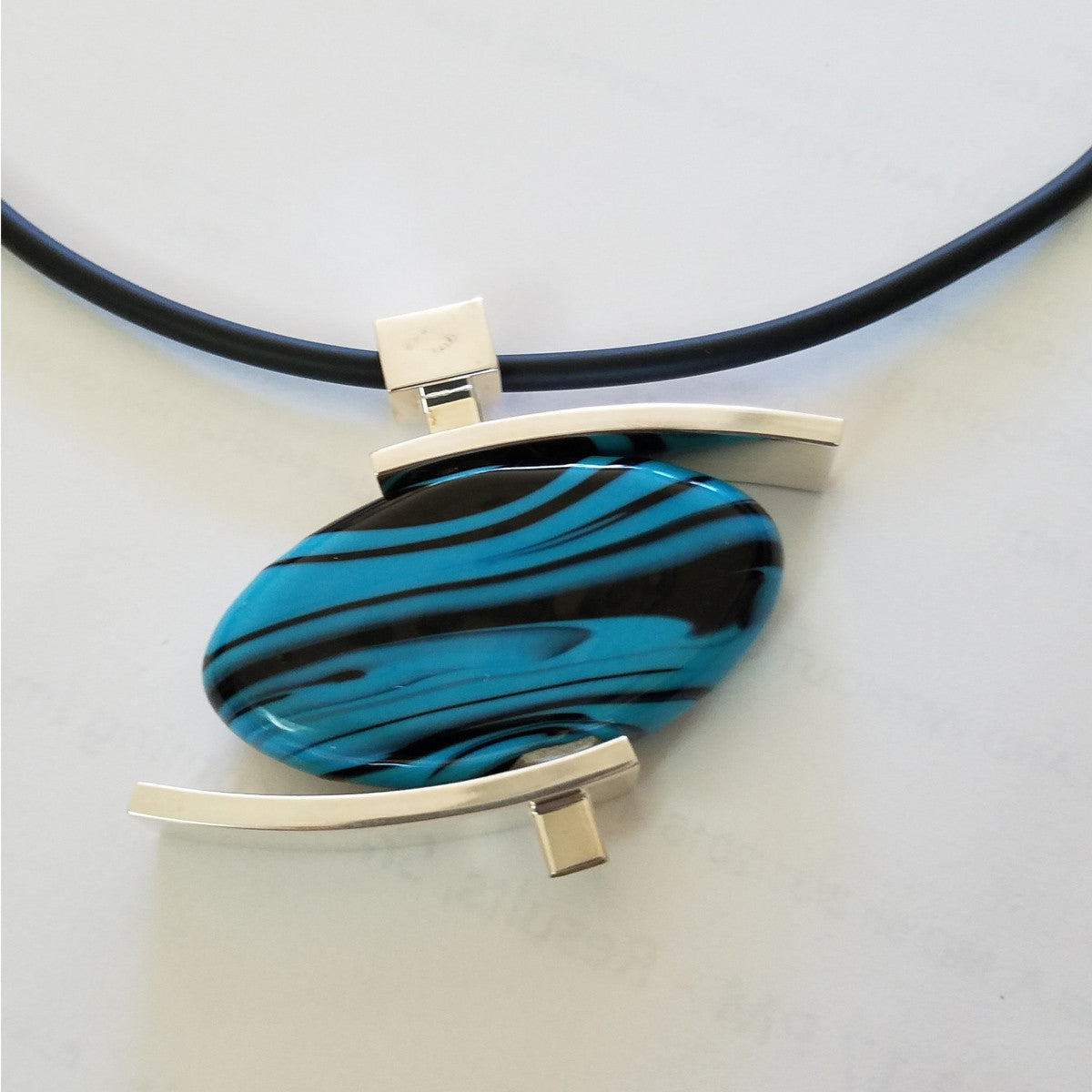La Foglia D'Oro: Murano Glass + Silver Necklace, Tourquoise