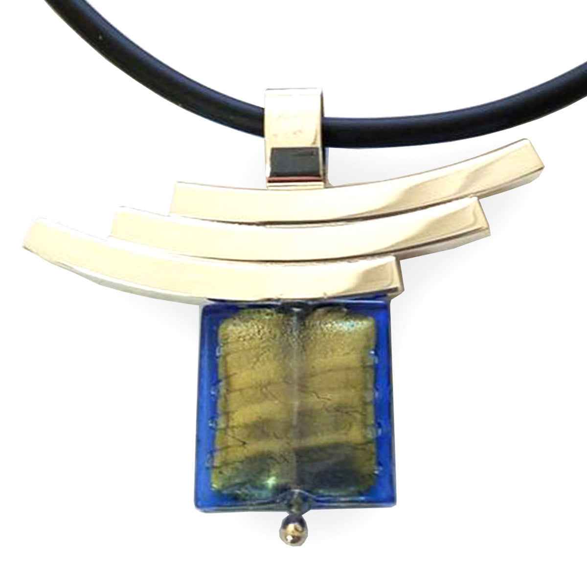 La Foglia D'Oro: Square Murano Glass + Silver Necklace - Green/Blue