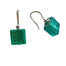 La Foglia D'Oro: Lego Glass + Silver Earrings - Green