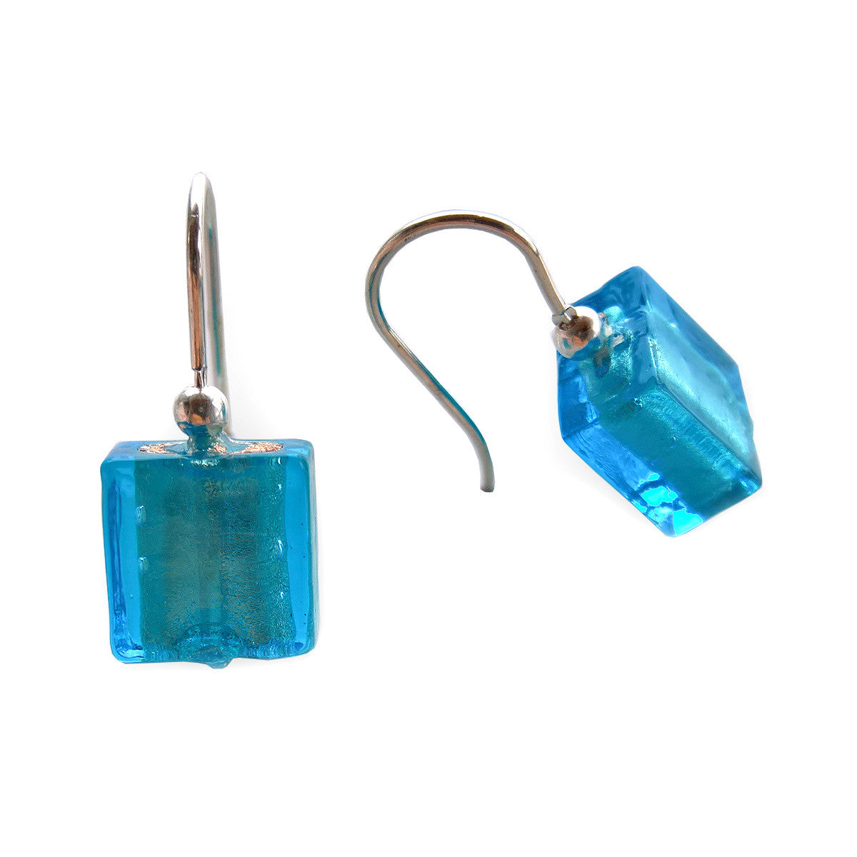 La Foglia D'Oro: Square Glass + Silver Earrings - Sky Blue