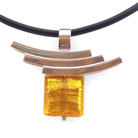 La Foglia D'Oro: Square Murano Glass + Silver Necklace - Amber