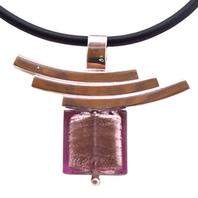 La Foglia D'Oro: Square Murano Glass + Silver Necklace - Viola