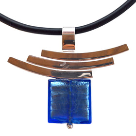 La Foglia D'Oro: Square Murano Glass + Silver Necklace - Blue