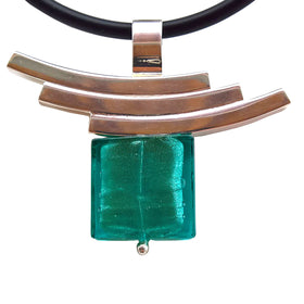 La Foglia D'Oro: Square Murano Glass + Silver Necklace - Green
