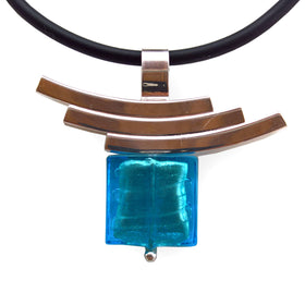 La Foglia D'Oro: Square Murano Glass + Silver Necklace - Sky Blue