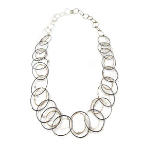 MPR: Interlocking Circles Necklace - Black/Bronze/Silver