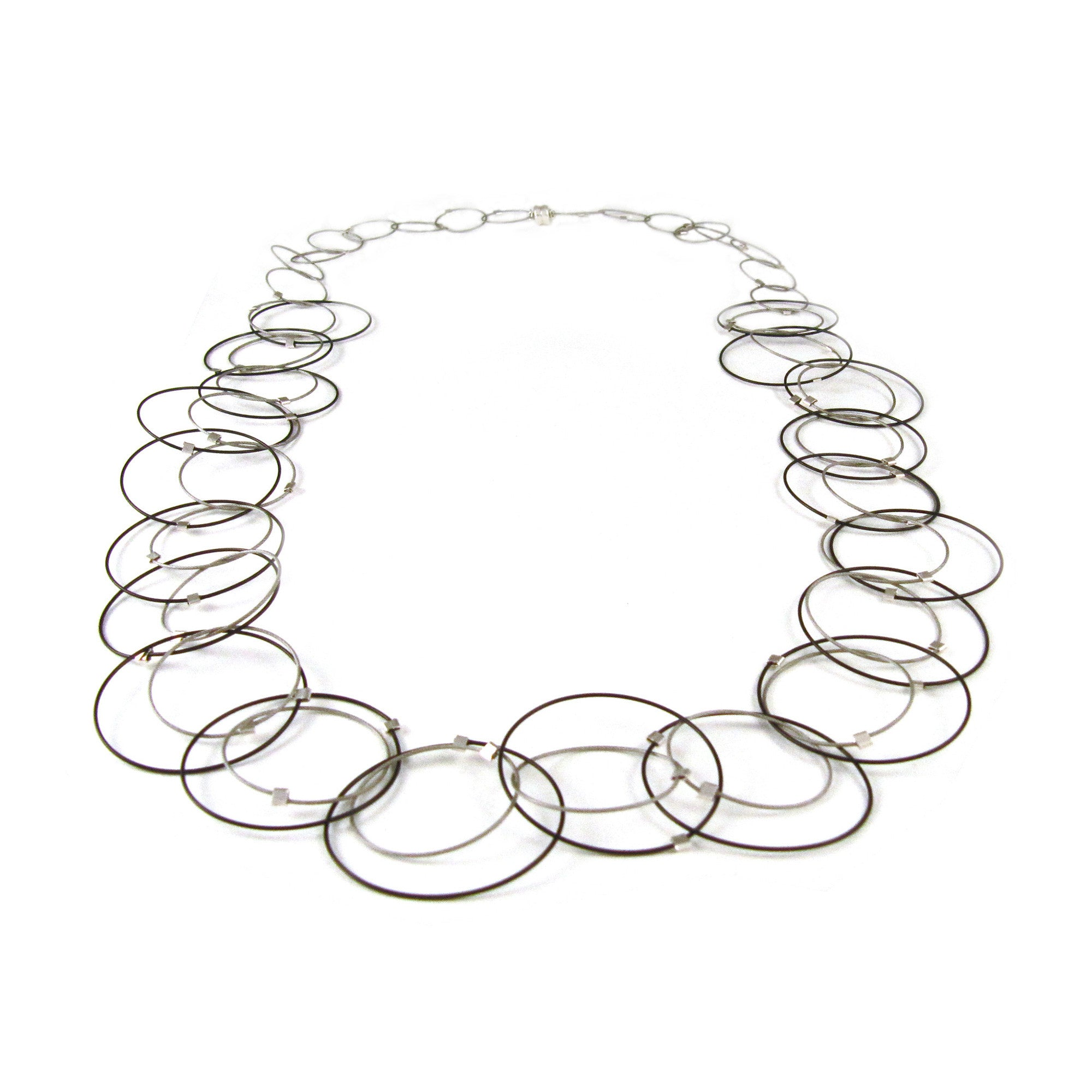 MPR: Interlocking Circles Necklace - Black/Steel
