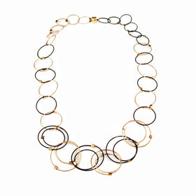 MPR: Interlocking Circles Necklace Mini - Black/Gold