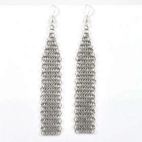 "Pascale Lion: ""Collection B""  Argente Chain Mail Earrings"