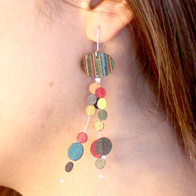 Dos Riberas: Strand Fabric Earrings - Cool