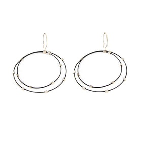 Tab Earrings - Black/Silver
