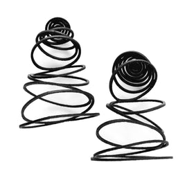 Tania Clarke Hall: Falling Circles Earrings - Black Leather