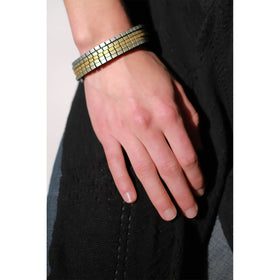 Tania Clarke Hall: Wound Up Cuff - Gold & Silver Leather