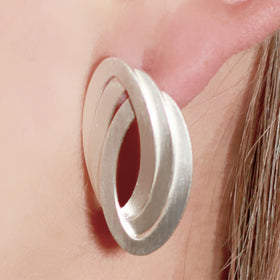 Triple Oval Sterling Silver Earrings