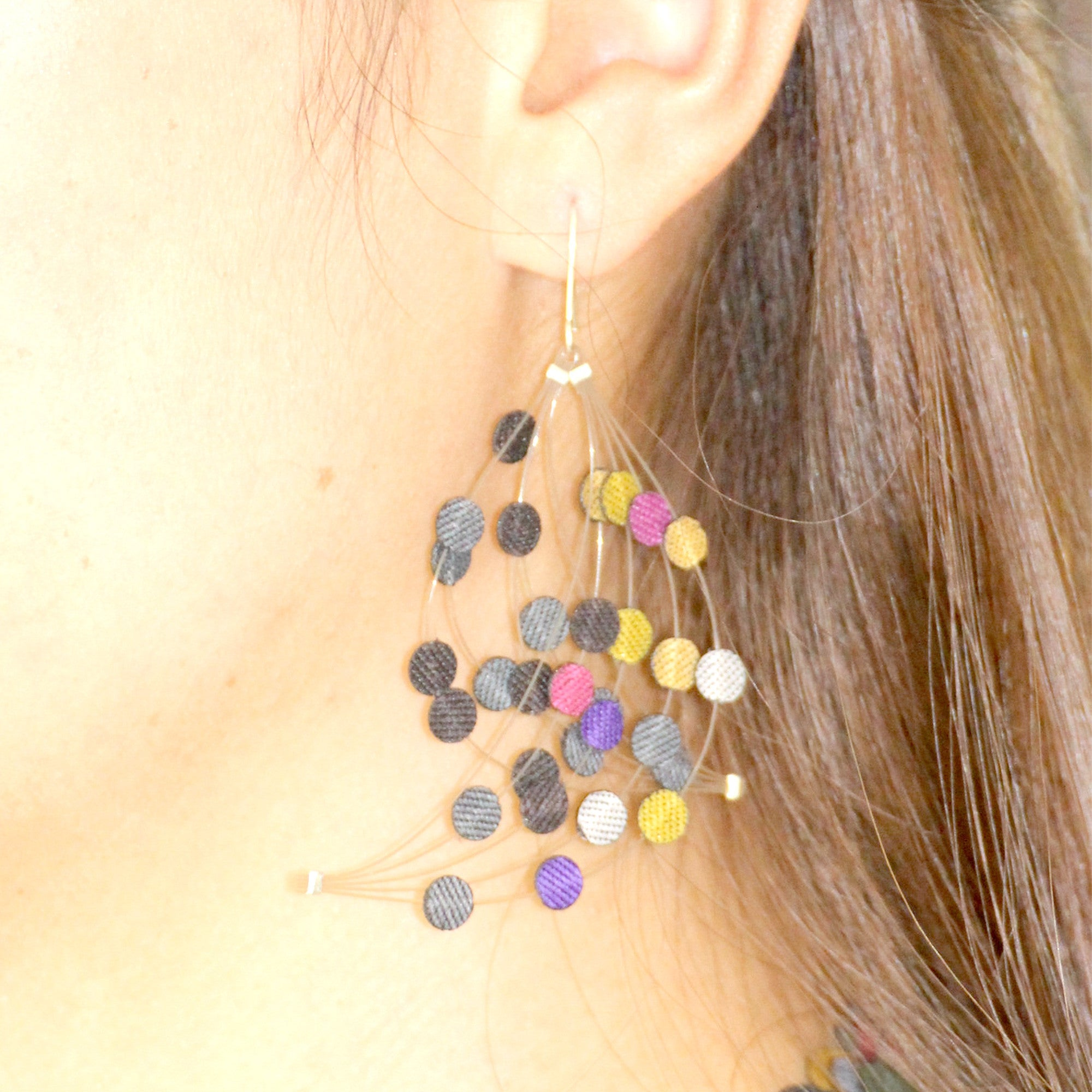 Dos Riberas: Wave Fabric Earrings - Warm
