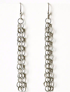 OOOO Pascale Lion: Hanae Argente Chain Mail Earrings - 6 cm