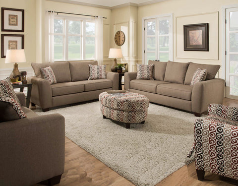 Beige Sofa Sleeper & Loveseat Set; 2 PCS. SET - Furnlander