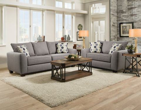 Gray Sofa Sleeper & Loveseat Set; 2 PCS. SET - Furnlander
