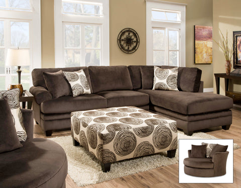 Chocolate Swirl Sectional Set - Furnlander